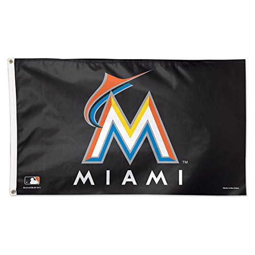 MLB Miami Marlins 02494115 Deluxe Flag, 3' x 5'