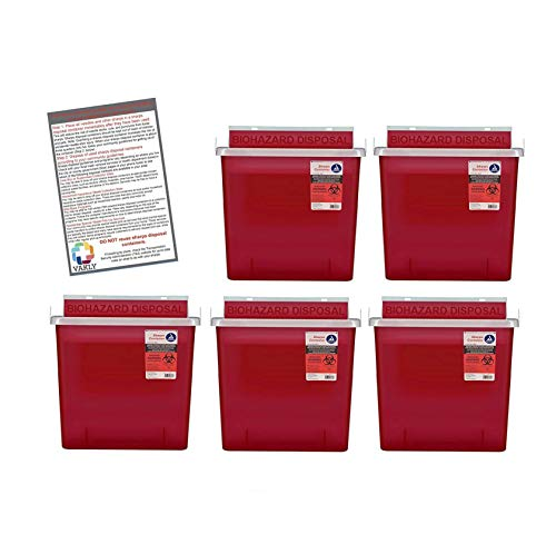 (Bulk Sharps Container 5 Quart with Mailbox Style Lid - Plus Vakly Biohazard Disposal Guide (5 Pack))