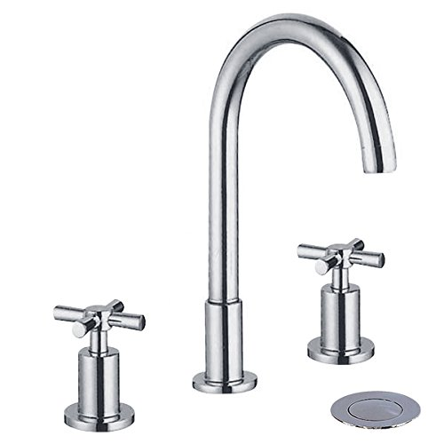 Wovier Chrome Widespread 8-16 Inch Waterfall Bathroom Sink Faucet,Two Handle Three Hole Vessel Lavatory Faucet,Basin Mixer Tap with Pop Up Drain