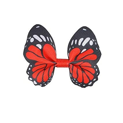 For baby to adult Butterfly Olivia bow with small red flowers barrette or elastic Loop bow on headband