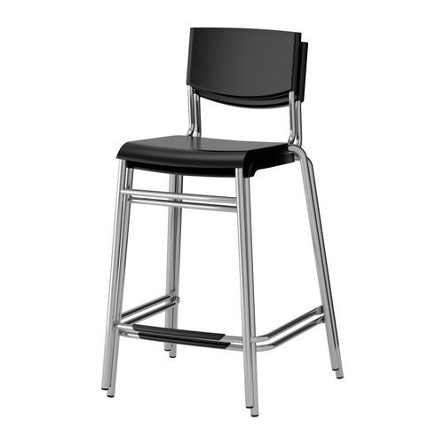 Taburete Stig.Ikea Stig Bar Stool With Backrest Black Silver Colour 63 Cm