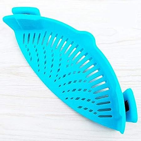 Clip-on hitzebest/ändig Seiher passend f/ür Alle T/öpfe und Schalen Home Gems Snap n Strain Silikon-Sieb blau