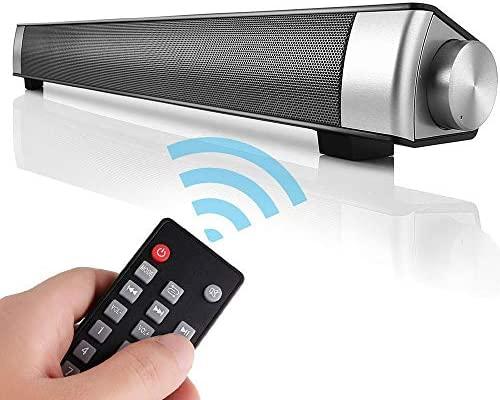 Barra de Sonido TV de Canal 2.0 de Bluetooth Inalámbrico con 3.5mm Aux Tarjeta TF LED indicador, Altavoz Estéreo de 10W con Incorporado Micrófono de ...