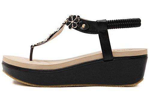 LOBTY Damen Toe Sandalen Mit schwerem Boden Sandalen Wedges Damen Schuhe mit hohen Absätzen Damen T-Strap Keilabsatz Keilsandaletten Gesteift Gr.35-40 Schwarz