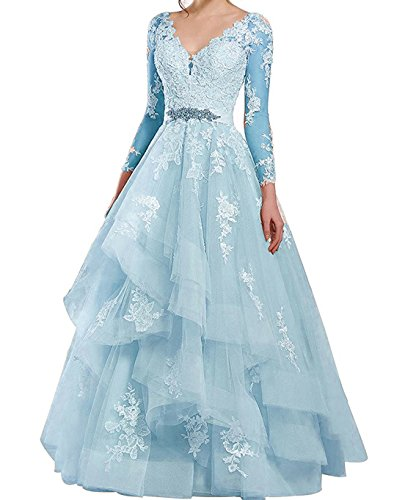 Dresses Prom Formal BessDress Party Ruffles Dresses BD470 Tulle Wedding Blue Evening Illusion Light Lace vxwqR4A