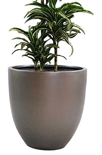 Pflanzkübel Blumenkübel Blumentopf Fiberglas rund konisch anthrazit metallic D60xH60cm