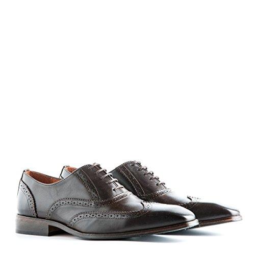 Travelin City Leather Derby Schnürhalbschuhe Herren | Business Schuhe Anzugschuhe Hochzeitschuhe | Lederschuhe Braun 43 EU