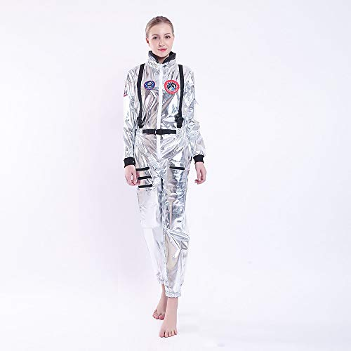WEEOH Astronaut Costume Spaceman Suit Halloween Costumes - Funny Cosplay Party (Woman -one Size) Silvery ()