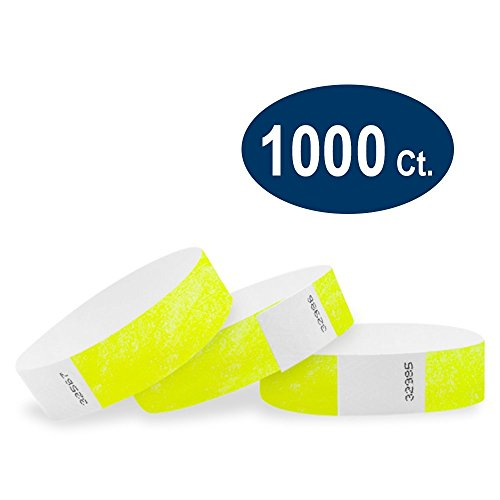 WristCo Neon Yellow 3/4' Tyvek Wristbands - 1000 Pack Paper Wristbands For Events