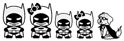 Batman Stick Family JDM Black Decal Vinyl Sticker|Cars Trucks Vans Walls Laptop| Black |7.5 x 3 in|LLI541