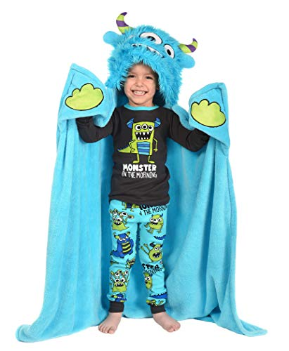 Monster in The Morning Childrens Hooded Animal Critter Blankets by LazyOne | Childrens Dress Up Large Travel Blanket (ONE Size)