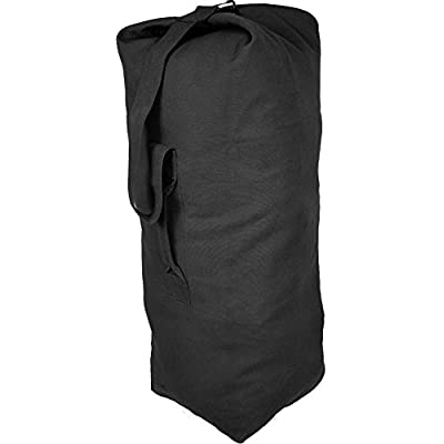 """ArmyUniverse Black Giant Top Load Canvas Military Duffle Bag (30"""" x 50"""")"""