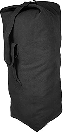 ef8e6a5e63 Image Unavailable. Image not available for. Color  Black Giant Top Load  Canvas Military Duffle Bag ...