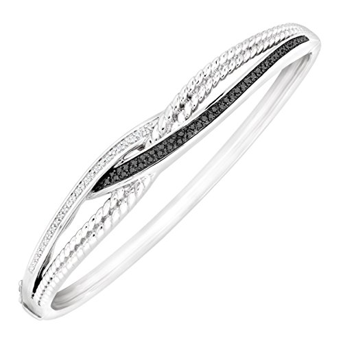 - 1/4 ct Black & White Diamond Bangle Bracelet in Sterling Silver