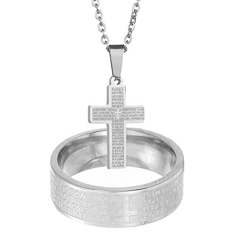 NASAMA Stainless Steel Couples Rings Bible Verse Christian Lord's Prayer Cross Necklace Wedding Bands Engraved Praying (Silver, - Engraved Band Cross