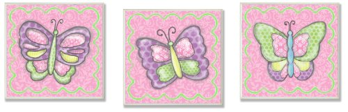 Trio Art Butterfly (The Kids Room by Stupell Colorful Pastel Butterflies 3-Piece Ssquare Wall Plaque Set)