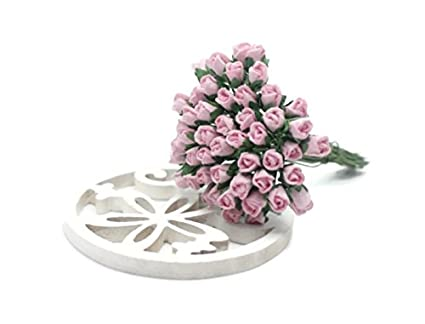 Amazon changthai design 50 pink tiny rose scrapbook crafts 5mm changthai design 50 pink tiny rose scrapbook crafts 5mm mulberry paper flower card wed dollhous mightylinksfo