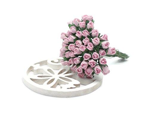 ChangThai Design 50 Pink Tiny Rose Scrapbook Crafts 5mm Mulberry Paper Flower Card Wed, Dollhous