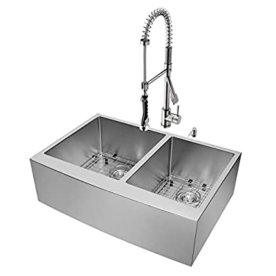 VIGO 33 inch Farmhouse Apron 60/40 Double Bowl 16 Gauge Stainless Steel Kitchen Sink with Zurich Stainless Steel Faucet, Two Grids, Two Strainers and Soap Dispenser