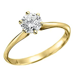 IGI Certified 14k yellow-gold Round Cut Diamond Engagement Ring (0.70 cttw, G Color, SI2 Clarity) - size 7.5