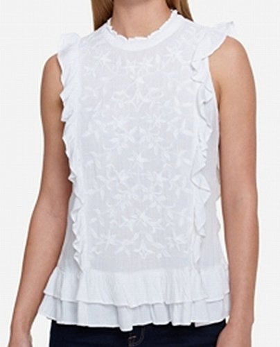 Tommy Hilfiger Womens Woven Sleeveless Tank Top White ()