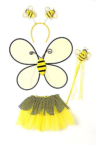 Bee Tutu Costumes (Yellow Toddler Girl Bumble Bee Wings Tutu Wand Costume Dress Up Set 2-4T)