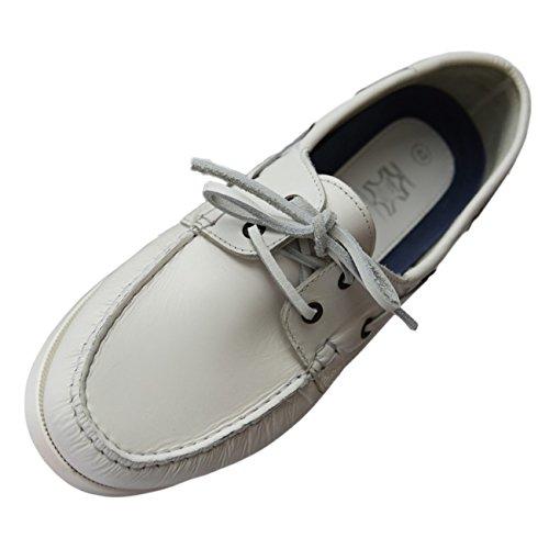 Beverley Originals Herren Leder Bootsschuh Mens Casual Sailor weiß