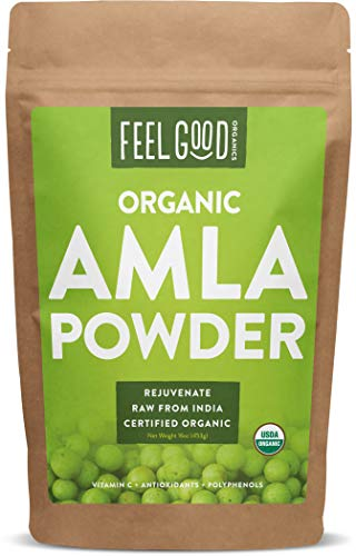 Organic Amla Powder (Amalaki) - 16oz Resealable Bag (1lb) - 100% Raw From India - by Feel Good ()