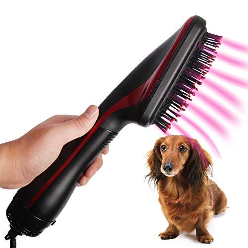 cepillo de color negro con succión de aire para pelo de mascota y perro sentado