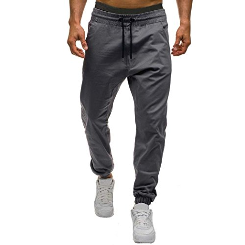 Men Pants Daoroka Men's Casual Plus Size Long Tether Elastic Solid Jogger Slacks Athletic Running Trousers (L, Gray)