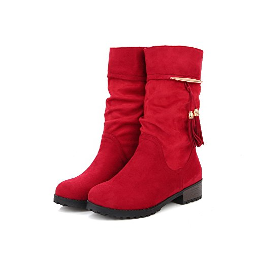 AgooLar Women's Pull On Low Heels Frosted Fringed Mid Top Boots Red Qt1IGRK