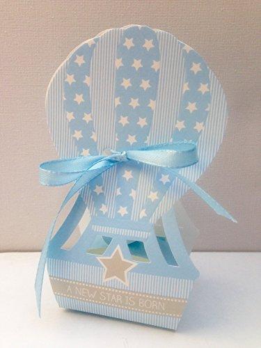 10 Gift Favor Box Hot-Air Ballloon Blue Baby Boy Shower Party Baptism (Hot Air Balloon Baby Shower Favors)
