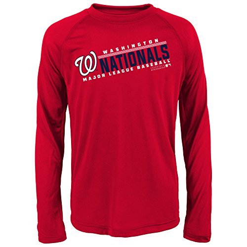 MLB Youth 8-20 Nationals performance Long sleeve Tee, L(14-16), Athletic Red