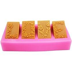 longzang 4Cavidad Amor Flores Molde S360Craft Art silicona jabón molde Craft Moldes Bricolaje hecho a mano vela Moldes