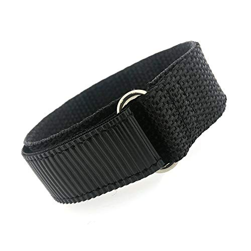 Watch Band Nylon One Piece Wrap Sport Strap Black Adjustable Hook and Loop 18 Millimeter (Swiss Army Watch Band Loop)
