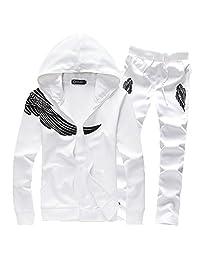 ASALI Men's Wing Print with Zipper Sweatshirt Sweats and Pants Set Tracksuit