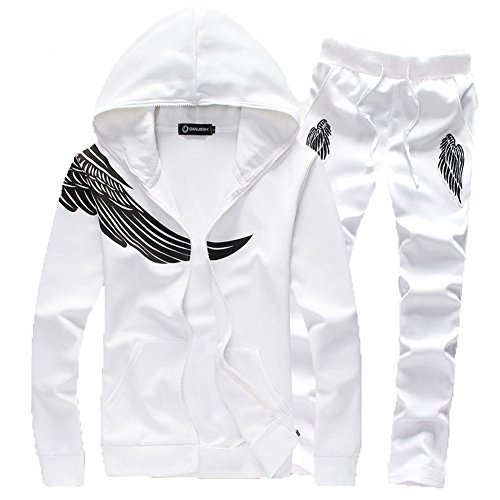Asali Men's Wing Print with Zipper Sweatshirt Sportwear Tracksuit White XXL by ASALI