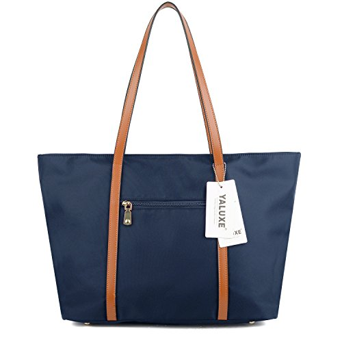 Large Work Shoulder Tote Blue Women's Oxford Bag YALUXE Nylon Capacity Navy q4aaFZ