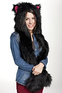 Faux FUR Animal Hats Hoods Black Cat Pink Ears Snow Winter White Ski with Mittens Unisex Gloves Scarf
