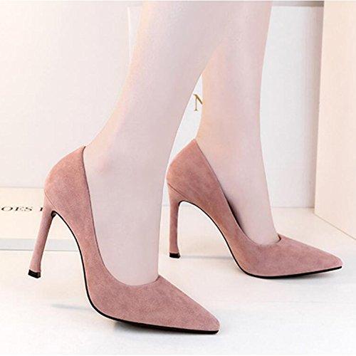 De Couleur Femme Travail Aiguilles Unie Conseils Pro Sexy Pour Ol Mesdames En Chaussures Rose Talons Escarpins Daim qx8RwIn60