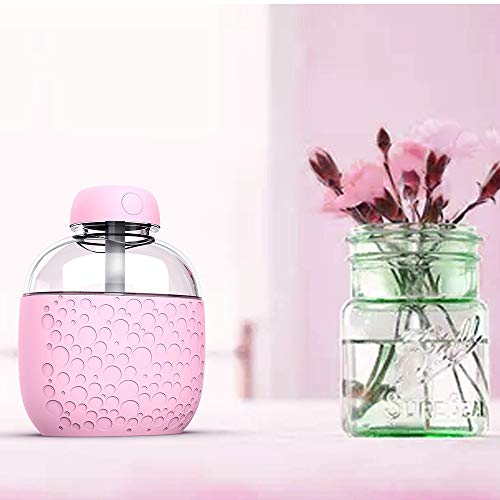 NEARTIME Mini Car USB LED Air Humidifier Diffuser Essential Oil Aroma Mist Purifier (Free Size, Pink)