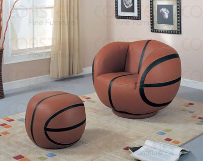 Coaster Kid's Swivel Chair and Ottoman Set, Basketball Design, 2-Pieces by Coaster Home Furnishings