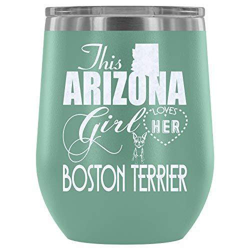 Steel Stemless Wine Glass Tumbler, Cute Boston Terrier Vacuum Insulated Wine Tumbler, Boston Terrier Wine Tumbler (Wine Tumbler 12Oz - Teal)