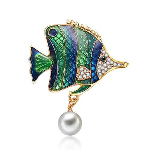 Chajb Fish Brooch Pearl Elegant Dress Fashion Charms Jewelry Badge Banquet Scarf Pins