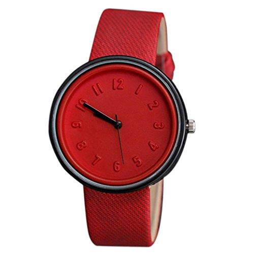 Red Unisex Watch (Wensltd(tm) Clearance Sale! Unisex Simple Fashion Number Watches Quartz Canvas Belt Wrist Watch (Red))