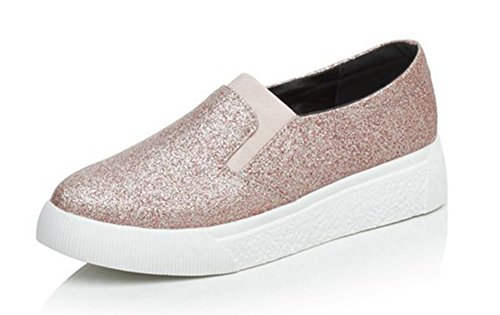 Easemax Women's Casual Round Toe Slip On Low Cut Fashion Sneakers with Sequins Pink 10.5 B(M) US