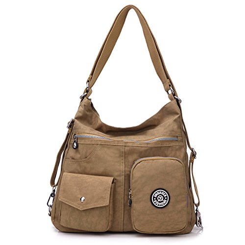 Outreo Crossbody Shoulder Body Beige Satchel Bag Casual Cross Nylon Travel Handbag Women Sport Messenger Bag Side Backpack for Girls Bag 1xqw6rY1