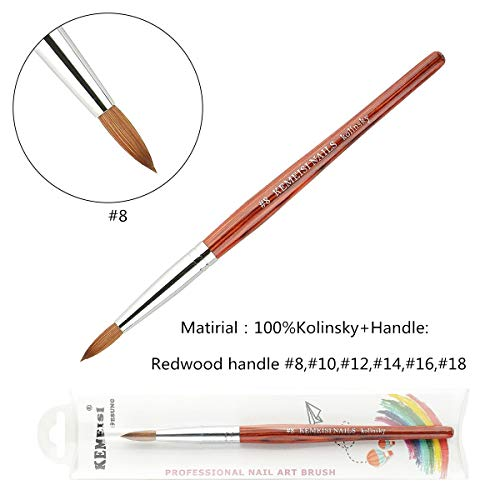 2019 1PC KEMEISI Redwood Handle 100% Kolinsky Nail art pens Sable Acrylic Nails Round Nail Art Brush Manufacturer Size 8,10,12,14,16,18 (#8)