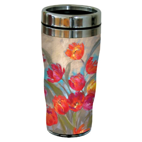 Tree-Free Greetings sg23723 Ruby Flush Tulips by Nel Whatmore Travel Tumbler, 16-Ounce