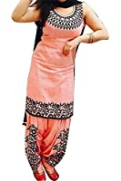 Suppar Sleave Women's Cotton Embroidered Semi Stitched Patiala Salwar Suit Dress Material Free Size (Orange)